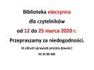 Biblioteka nieczynna do 25 marca 2020 r.