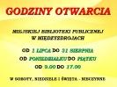 Nowe godziny otwarcia biblioteki w terminie 01.07-31.08.2019 r.