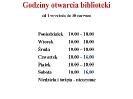 Zmiana godzin otwarcia biblioteki od 1 września 2020 r.